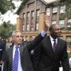 FILE - In this Sept. 9, 2011 file photo, Chicago Mayor Rahm Emanuel, left, and Chicago Public Schools CEO Jean-Claude Brizard greet students as they arrive at Carl Schurz High School in Chicago. On Thursday, Oct. 11, 2012, Brizard stepped down from the post by mutual agreement after a little more than a year in the post. The move comes about three weeks after CPS and the Chicago Teachers Union resolved the first teachers strike in the city in a quarter century. Emanuel named Brizard to the post 17 months ago. (AP Photo/Paul Beaty, File)