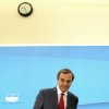 The winner of the Greek elections, conservative Antonis Samaras leaves after quick statements to the press at Greek parliament in Athens on in Athens, on Monday, June 18, 2012. Greece\'s two pro-bailout parties appeared likely Monday to agree on forming a coalition government after a bruising election watched closely because of its potential impact on the world economy, but negotiations were pushed to a second day after the head of the socialist party insisted on a broad partnership. (AP Photo/Petros Giannakouris)