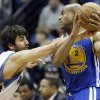 Minnesota Timberwolves\' Ricky Rubio of Spain, left, tries to knock the ball away from Golden State Warriors\' Jarrett Jack in the first quarter of an NBA basketball game Sunday, Feb. 24, 2013, in Minneapolis. (AP Photo/Jim Mone)