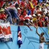 Photo - Costa Rica's Junior Diaz celebrates with fans following the team's 1-0 victory over Italy during the group D World Cup soccer match between Italy and Costa Rica at the Arena Pernambuco in Recife, Brazil, Friday, June 20, 2014.  (AP Photo/Ricardo Mazalan)