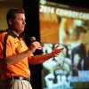 Photo - Oklahoma State football coach Mike Gundy talks to OSU fans as part of the Cowboy Caravan at the Renaissance Tulsa hotel on Monday, August 11,  2014. MATT BARNARD/Tulsa World