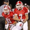 Yukon\'s Kaiden Horn (7) celebrates next to Kollin Retter (81) after Horn recovered an Edmond Memorial fumble during the high school football game between Edmond Memorial and Yukon in Yukon, Okla., Friday, November 5, 2010. Photo by Nate Billings, The Oklahoman