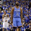 Oklahoma City\'s James Harden (13) reacts after making a basket during game 2 of the Western Conference Finals in the NBA basketball playoffs between the Dallas Mavericks and the Oklahoma City Thunder at American Airlines Center in Dallas, Thursday, May 19, 2011. Photo by Bryan Terry, The Oklahoman