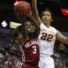 Oklahoma\'s Aaryn Ellenberg (3) goes past Iowa State\'s Brynn Williamson (22) during the Big 12 tournament women\'s college basketball game between the University of Oklahoma and Iowa State University at American Airlines Arena in Dallas, Sunday, March 10, 2012. Oklahoma lost 79-60. Photo by Bryan Terry, The Oklahoman