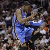 Thunder forward Kevin Durant celebrates during Wednesday\'s win. AP photo