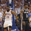 Oklahoma City\'s James Harden reacts in front of San Antonio\'s Stephen Jackson (3) after making a shot during Game 6 of the Western Conference Finals between the Oklahoma City Thunder and the San Antonio Spurs in the NBA playoffs at the Chesapeake Energy Arena in Oklahoma City, Wednesday, June 6, 2012. Photo by Chris Landsberger, The Oklahoman