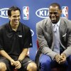 Photo -   Miami Heat head coach Erik Spoelstra, left, and LeBron James laugh during a ceremony to present James with the NBA MVP trophy, Saturday, May 12, 2012, in Miami. Calling the honor