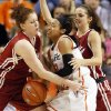 Oklahoma State\'s Tiffany Bias (3) loses the ball as she is caught between Oklahoma\'s Joanna McFarland (53), left, and Morgan Hook (10) during the Bedlam women\'s college basketball game between Oklahoma State University and the University of Oklahoma at Gallagher-Iba Arena in Stillwater, Okla., Saturday, Feb. 23, 2013. OSU beat OU, 83-62. Photo by Nate Billings, The Oklahoman