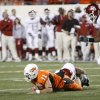 Zac Robinson fumbles the two-point conversion during the second half of the college football game between the University of Oklahoma Sooners (OU) and Oklahoma State University Cowboys (OSU) at Boone Pickens Stadium on Saturday, Nov. 29, 2008, in Stillwater, Okla. STAFF PHOTO BY NATE BILLINGS