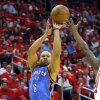 Oklahoma City\'s Derek Fisher (6) shoots during Game 4 in the first round of the NBA playoffs between the Oklahoma City Thunder and the Houston Rockets at the Toyota Center in Houston, Texas, Monday, April 29, 2013. Photo by Bryan Terry, The Oklahoman