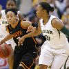 Oklahoma State\'s Tiffany Bias (3) goes past Baylor\'s Odyssey Sims (0) during the Big 12 tournament women\'s college basketball game between Oklahoma State University and Baylor at American Airlines Arena in Dallas, Sunday, March 10, 2012. Oklahoma State lost 77-69. Photo by Bryan Terry, The Oklahoman