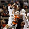 Texas\' Blake Gideon (21) intercepts a Zac Robinson pass during the college football game between the Oklahoma State University Cowboys (OSU) and the University of Texas Longhorns (UT) at Boone Pickens Stadium in Stillwater, Okla., Saturday, Oct. 31, 2009. Photo by Sarah Phipps, The Oklahoman