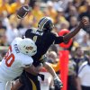 Oklahoma State\'s Jamie Blatnick (50) sacks Missouri\'s James Franklin (1)during a college football game between the Oklahoma State University Cowboys (OSU) and the University of Missouri Tigers (Mizzou) at Faurot Field in Columbia, Mo., Saturday, Oct. 22, 2011. Photo by Sarah Phipps, The Oklahoman