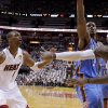 Miami\'s LeBron James (6) passes the ball past Oklahoma City\'s Serge Ibaka (9) and Kevin Durant (35) as Chris Bosh (1) watches during Game 4 of the NBA Finals between the Oklahoma City Thunder and the Miami Heat at American Airlines Arena, Tuesday, June 19, 2012. Photo by Bryan Terry, The Oklahoman