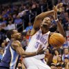 Oklahoma City\'s Kevin Durant (35) loses the ball as he is fouled by Memphis\' Tony Allen (9) during an NBA basketball game between the Memphis Grizzlies and the Oklahoma City Thunder at Chesapeake Energy Arena in Oklahoma City, Friday, Feb. 28, 2014. Oklahoma City won, 113-107. Photo by Nate Billings, The Oklahoman