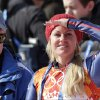 Photo - Britain's Chemmy Alcott shields her eyes from the sun after finishing the the downhill portion of the women's supercombined at the Sochi 2014 Winter Olympics, Monday, Feb. 10, 2014, in Krasnaya Polyana, Russia. (AP Photo/Gero Breloer)