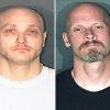 This combo made from photos released by the El Paso County, Colo., Sheriff\'s office shows Thomas James Guolee, 31, left, and James Franklin Lohr, 47, who are wanted for questioning in the Tom Clements homicide investigation. Lohr is described as 6 feet tall, 160 pounds, with blond hair, brown eyes and several tattoos. Guolee is a 31 year old male described as 5 feet 9 inches tall, 160 pounds, with blond hair, blue eyes and several tattoos. (AP Photo/El Paso Sheriff)
