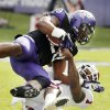 Oklahoma\'s Tony Jefferson (1) brings down TCU\'s Matthew Tucker (29) during the college football game between the University of Oklahoma Sooners (OU) and the Texas Christian University Horned Frogs (TCU) at Amon G. Carter Stadium in Fort Worth, Texas, on Saturday, Dec. 1, 2012. Photo by Steve Sisney, The Oklahoman