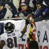 Baltimore Ravens wide receiver Anquan Boldin hands the football to a fan after scoring on an 11-yard touchdown pass during the second half of the NFL football AFC Championship football game in Foxborough, Mass., Sunday, Jan. 20, 2013. (AP Photo/Elise Amendola)