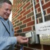 Clegern Elementary School Principal Bill Powell demonstrates the new security system at his school in Edmond, Friday, May 1, 2009. Photo By David McDaniel, The Oklahoman