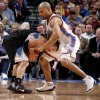 Oklahoma City\'s Derek Fisher (37) defends Minnesota\'s Jose Juan Barea (11) during the NBA basketball game between the Oklahoma City Thunder and the Minnesota Timberwolves at Chesapeake Energy Arena in Oklahoma City, Friday, March 23, 2012. Photo by Bryan Terry, The Oklahoman