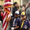 Brice Knight carries the American flag as he and fellow Cub Scout Daiden Jones participate in the posting of the colors at the start of the 16th annual Midwest City Dr. Martin Luther King, Jr. Prayer Breakfast inside the Reed Conference Center Monday morning, Jan. 21, 2013. The scouts are members of Pack 1864 from St. John Missionary Baptist Church. The theme of this year\'s event is