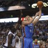Oklahoma City\'s Cole Aldrich (45) shoots as Dallas\' Ian Mahinmi (28) defends during the pre season NBA game between the Dallas Mavericks and the Oklahoma City Thunder at the American Airlines Center in Dallas, Sunday, Dec. 18, 2011. Photo by Sarah Phipps, The Oklahoman