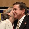 Linda Edmondson gives husband, Drew, a kiss after he delivered his concession speech to supporters at gubernatorial primary election watch party for Drew Edmondson at the Sheraton Hotel in downtown Oklahoma City, Tuesday, July 27, 2010. Photo by Jim Beckel, The Oklahoman