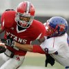 Bixby\'s Michael Nelson (9) knocks the ball out of the hands of Carl Albert\'s Markell Walker (1) after a catch in the fourth quarter during the Class 5A state high school football championship game between Bixby and Carl Albert at Boone Pickens Stadium in Stillwater, Okla., Saturday, December 5, 2009. Carl Albert maintained possession as the ball landed out of bounds. Carl Albert won, 21-7. Photo by Nate Billings, The Oklahoman