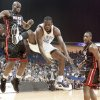Oklahoma City's Jeff Green, center, loses control of the ball after a foul between Miami's Joel Anthony, left, and Mario Chalmers. Photo by Bryan Terry, The Oklahoman