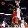 Oklahoma City\'s Serge Ibaka (9) blocks the shot of Milwaukee\'s Brandon Jennings (3) during the NBA basketball game between the Oklahoma City Thunder and the Milwaukee Bucks at the Oklahoma City Arena, Wednesday, April 13, 2011. Photo by Bryan Terry, The Oklahoman