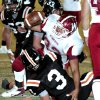 Wynnewood\'s Trey Knowles (32) celebrates a two point conversion as the Wayne Bulldogs play the Wynnewood Savages in District 5, Class A high school football on Friday, Oct. 28, 2011, in Wayne, Okla. Photo by Steve Sisney, The Oklahoman