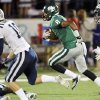 Edmond Santa Fe\'s Tre Kelley (8) runs after a catch near teammate Quintin James (18) and Camden Bohnert (10) of Edmond North during a high school football game between Edmond Santa Fe and Edmond North at Wantland Stadium in Edmond, Okla., Friday, Oct. 28, 2011. Photo by Nate Billings, The Oklahoman