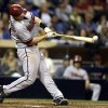 Photo - Arizona Diamondbacks first baseman Paul Goldschmidt hits a single against the San Diego Padres during the eighth inning of a baseball game, Saturday, May 3, 2014, in San Diego. (AP Photo/Gregory Bull)