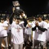 Sacramento River Cats manager Tony DeFrancesco raises the championship trophy after Sacramento beat the Richmond Braves in the Bricktown Showdown Triple-A Championship baseball game at the Bricktown Ballpark in Oklahoma City, Tuesday, Sept. 18, 2007. By Nate Billings, The Oklahoman