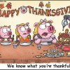 "Photo - This ""Piggy Nation"" comic strip by Richard Rosser, the strip's creator, and Shane Sowell, its illustrator, shows just one of the etiquette situations families can have at Thanksgiving. The ""Piggy Nation"" comic strip runs Sunday in The Oklahoman. PHOTO PROVIDED. <strong></strong>"