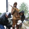 City crews install a carved wooden figures of Korean war soldiers at Veterans Memorial Park in Moore Veterans, Friday, May 14, 2010. Photo by David McDaniel, The Oklahoman