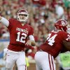 Why OU will win 2. Landry Jones could be in for a big day: North Texas quarterback Derek Thompson completed 19 of 45 passes with one touchdown and two interceptions in the Mean Green\'s first two games. At K-State, he was 25 of 28 for 208 yards, with a touchdown and no picks. Numbers like that bode well for OU\'s most prolific passer of all time. Photo: Oklahoma\'s Landry Jones throws the ball during the Sooners\' win over Florida A&M on Sept. 8. Photo by Bryan Terry, The Oklahoman