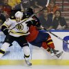 Boston Bruins\' Milan Lucic (17) slams Florida Panthers\' Jack Skille (12) into the glass as they chase the puck during the first period of an NHL hockey game in Sunrise, Fla., Sunday, Feb. 24, 2013. (AP Photo/J Pat Carter)