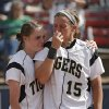Broken Arrow\'s Olivia Shideler (4) and Theresa Collins (15) react after the loss to Tulsa Union in the Class 6A Oklahoma State High School Slow Pitch Softball Championship at ASA Hall of Fame Stadium in Oklahoma City, Wednesday, May 1, 2013. Photo by Chris Landsberger, The Oklahoman