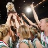The Adair Lady Warriors raise the championship trophy after the Class 3A girls championship game between Millwood and Adair in the Oklahoma High School Basketball Championships at State Fair Arena in Oklahoma City, Saturday, March 14, 2009. Adair won, 63-47. PHOTO BY NATE BILLINGS, THE OKLAHOMAN