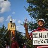 Harley \'Any Tickets\' tries to buy and sale tickets outside the stadium before the start of the college football game between the University of Oklahoma Sooners (OU) and the Tulsa University Hurricanes (TU) at the Gaylord Family-Memorial Stadium on Saturday, Sept. 3, 2011, in Norman, Okla. Photo by Chris Landsberger, The Oklahoman