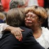 Daughter Marilyn Hildreth is hugged by Jane Jayroe after the service. About 2,500 people celebrated the life and legacy of Oklahoma City civil rights pioneer Clara Mae Shepard Luper during a lively service in the Cox Convention Center that lasted more than three hours, Friday, June 17, 2011. Luper died last week at the age of 88. Photo by Jim Beckel, The Oklahoman