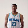 Photo -   New Orleans Hornets basketball player Anthony Davis poses in his uniform in New Orleans, Friday, June 29, 2012. Davis was the first pick in the 2012 NBA Draft Thursday night. (AP Photo/Kerry Maloney)