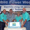 Edmond Electric Director Charlie Burgett, Councilman David Miller, Cindy Holman from Oklahoma Municipal Power Authority, and Charles Lamb, Mayor Pro Tem of Edmond, display the cake for the Open House event Thursday evening as part of the Public Power Week celebration. Community Photo By: Jeremy Sanchez, City of Edmond Submitted By: Claudia, Edmond