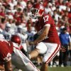 Jimmy Stevens (17) kicks an extra point during the second half of the college football game where the University of Oklahoma Sooners (OU) defeated the Air Force Falcons 27-24 at Gaylord Family-Oklahoma Memorial Stadium on Saturday, Sept. 18, 2010, in Norman, Okla. Photo by Steve Sisney, The Oklahoman