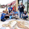 Photo - The Lyric Theatre staff wears Thunder gear June 12. The chalk drawing — of the Venus wearing a Thunder jersey —  in front was done during LIVE on the Plaza. Photo provided