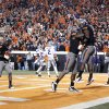 Oklahoma State\'s Tracy Moore (87) and Joseph Randle (1) celebrate Randle\'s game-winning touchdown during a college football game between the Oklahoma State University Cowboys (OSU) and the Kansas State University Wildcats (KSU) at Boone Pickens Stadium in Stillwater, Okla., Saturday, Nov. 5, 2011. Photo by Sarah Phipps, The Oklahoman