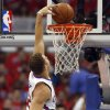 Los Angeles\' Blake Griffin (32) dunks in front of Oklahoma City\'s Serge Ibaka (9) during Game 6 of the Western Conference semifinals in the NBA playoffs between the Oklahoma City Thunder and the Los Angeles Clippers at the Staples Center in Los Angeles, Thursday, May 15, 2014. Photo by Nate Billings, The Oklahoman