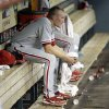 Photo -   Philadelphia Phillies relief pitcher Jacob Diekman sits on the bench after losing a baseball game against the Houston Astros Thursday, Sept. 13, 2012, in Houston. The Astros beat the Phillies 6-4. (AP Photo/David J. Phillip)